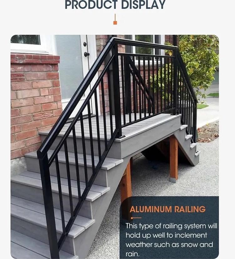 High Quality Black Metal Aluminum Pipe Design Outdoor Deck Bridge   Black Pipe Stair Railing   Diy   90 Degree Stair   Banister   Outdoor Stair   Stainless Steel