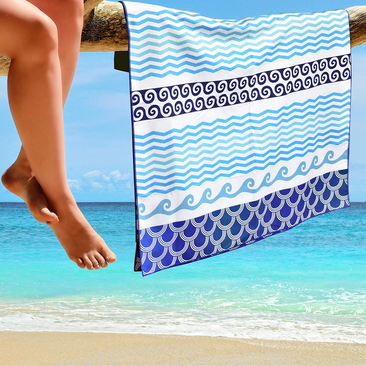 Recycled custom microfiber sand free waffle towel beach towel with your design