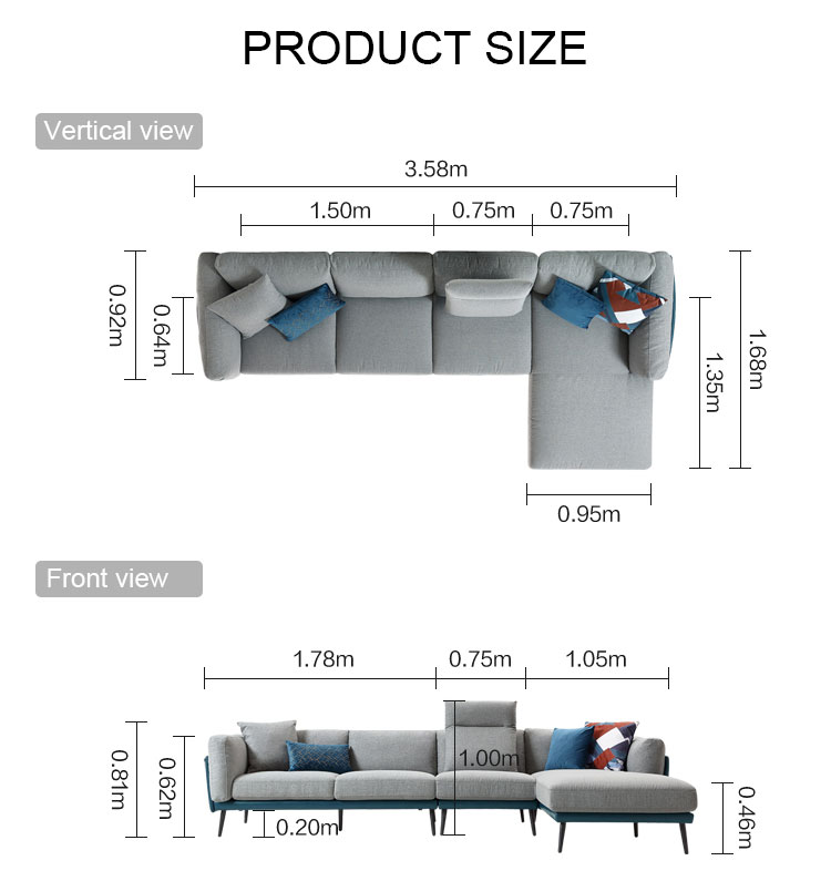Modern Home Furniture Fabric Sectional Couch Living Room Sofas
