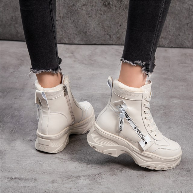 Leather Women's Chunky Boots Winter Thick Fur Warm Women Platform Sneakers 2019 Fashion Combat Boot Woman Fashion Shoes