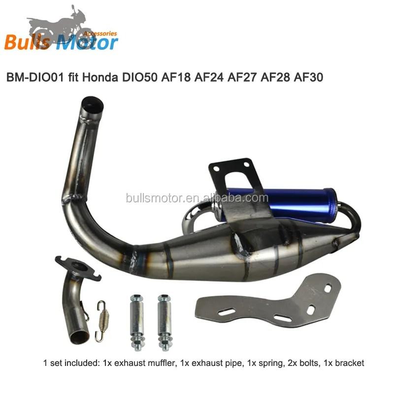 motorcycle exhaust system for honda dio50 af24 af27 af28 af30 dio af18 exhaust pipe 50cc scooter racing exhaust buy scooter exhaust dio50 dio af18
