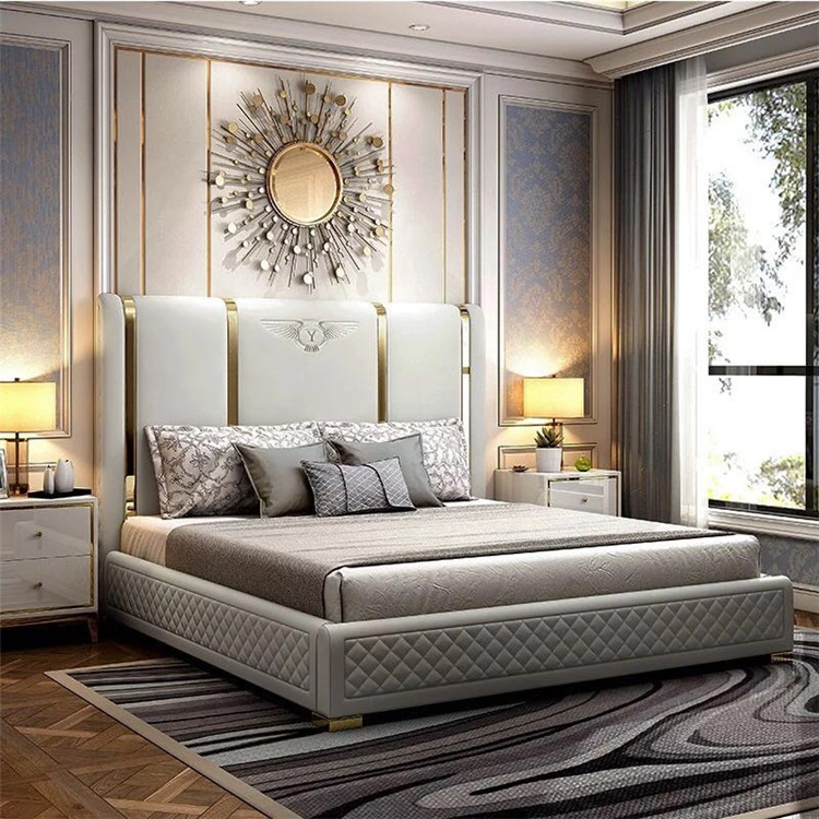 foshan wholesale modern luxury bedroom furniture bedroom set king size solid wood genuine leather bed buy leather bed bedroom furniture bed product
