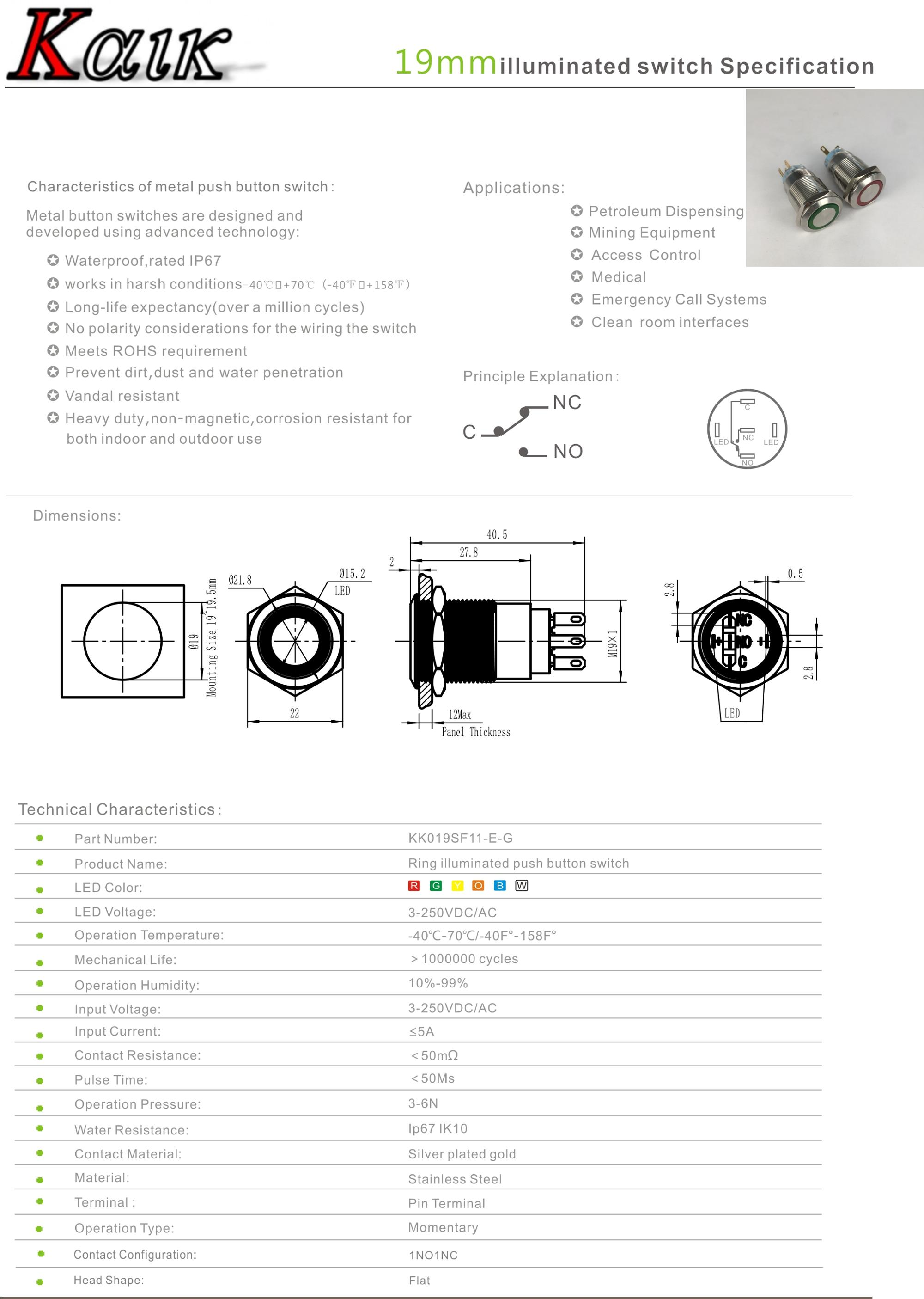 19mm Momentary Push Button Switch On Off Stainless Steel