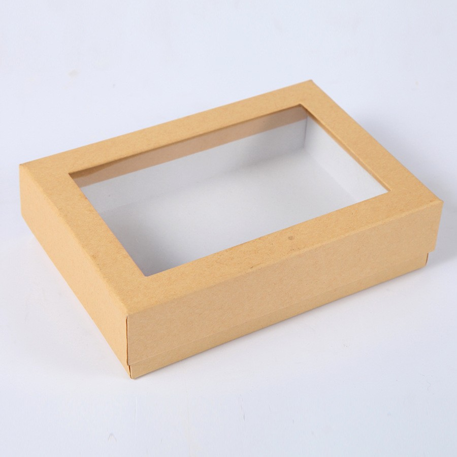 Lid And Base Gift Packaging Brown Paper Box With Clear