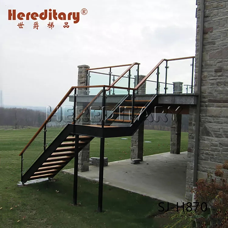 Prefab Outdoor Metal Staircase With Glass Guardrail And Steel Wood | Prefab Outdoor Wood Stairs | Manufactured Home | Trailer | 8 Foot | New Style | Portable