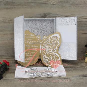 Unique Acrylic Elegant Wedding Invitation Card With Diamond Stone Silvery Box Invitations