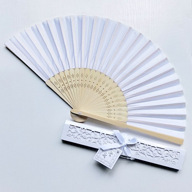 With Box Cute 21cm Chinese Wedding Silk Fan Favor Fabric Invitation Product