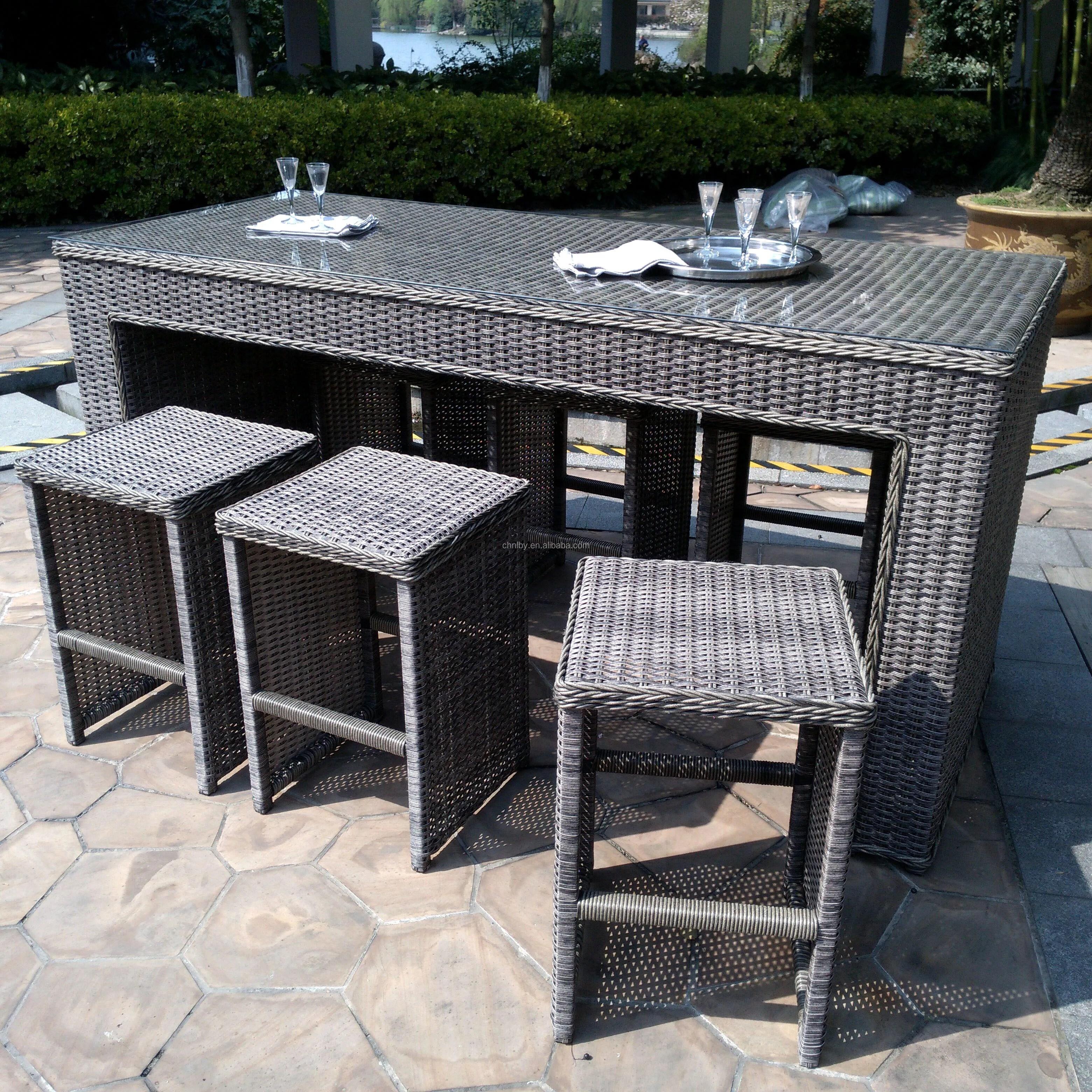 4pcs handmade outdoor patio wicker rattan garden bar chair and coffee table set furniture bar stool buy rattan wicker high patio plastic dining bar