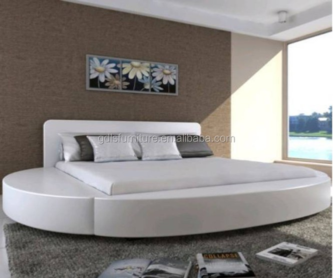 Latest King Size Round Bed Design With Pu Pvc And Sectional Mattress