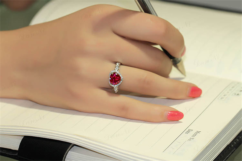 HTB13v4fhcrI8KJjy0Fhq6zfnpXaf Red Ruby Heart Shape Gemstone Sterling 925 Silver Wedding Rings For Women Bridal Fine Jewelry Engagement Bague Accessories