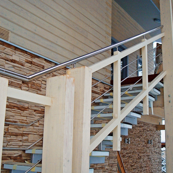 Stainless Steel Outdoor Metal Wooden Stair Railing Design For   Outdoor Wood Stair Railing   Child   Stair Inside   Staircase   Natural Wood   Build In