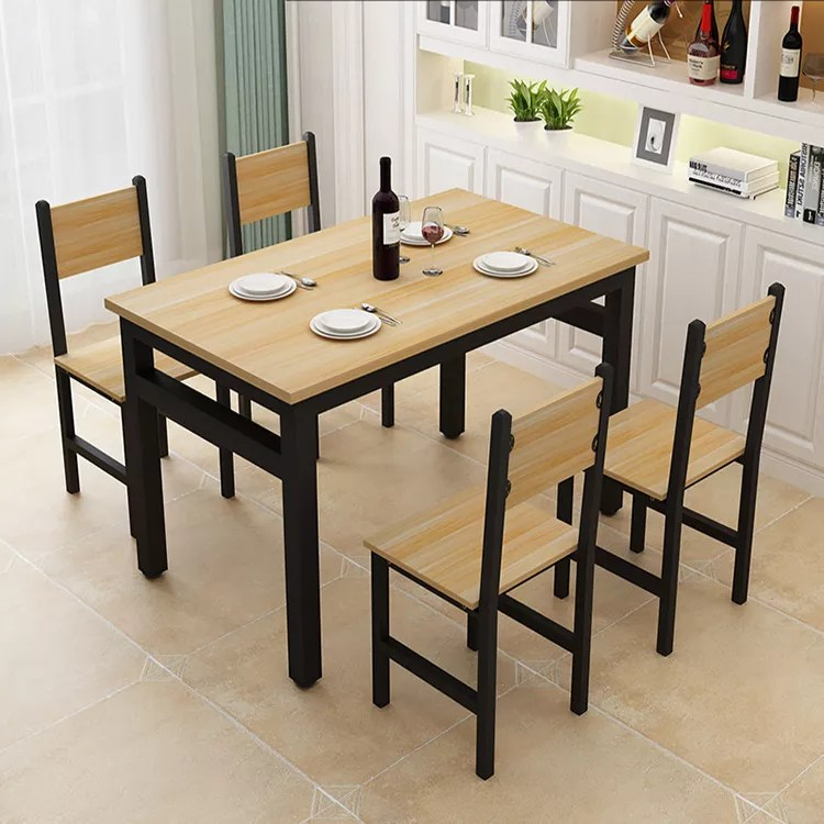 Simple fast food restaurant table and chair combination household table 4 people 6 people restaurant canteen wooden table