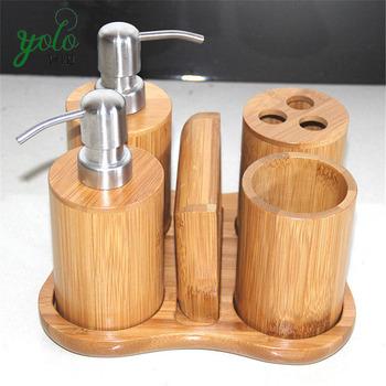 classiques elegant 5 pc produits vanite salle de bain en bambou accessoire set avec porte