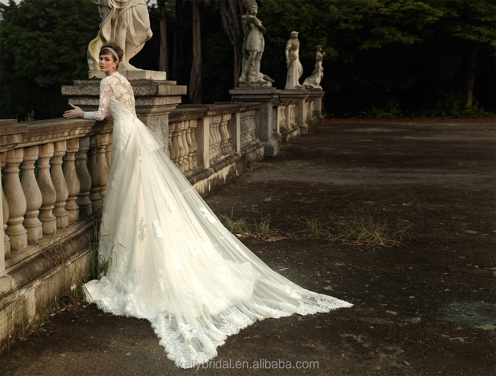 Zm16006 Detachable Long Train Muslim Wedding Dress With