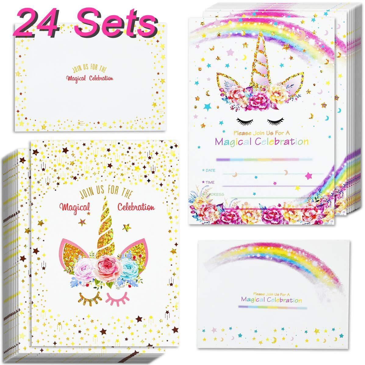 24pcs unicorn invitations with envelopes and unicorn thank you tags unicorn birthday party invitation cards for kids birthday buy unicorn