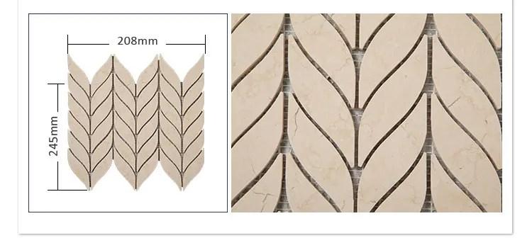 natural stone cream marfil marble leaf shaped mosaic tile backsplash buy leaf shaped mosaic tile cream marble mosaic tile leaf shaped mosaic marble