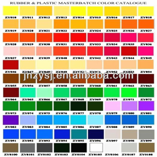 Color Chart For Plastic Granule