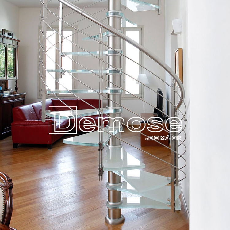 Indoor Modern Wood Stairs Design Spiral Stairs Used Wrought Iron | Modern Wood Stair Railing | Creative Outdoor Stair | Traditional | Indoor | Balustrade | Cherry Wood