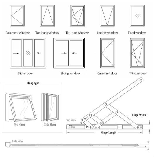 Casement Type Glass Aluminum Top Hung Windows Shutter