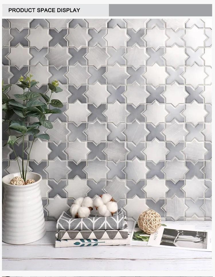 2019 style collection classic gray star cross pattern porcelain wall creative mosaic backsplash tile buy mosaic backsplash mosaic backsplash
