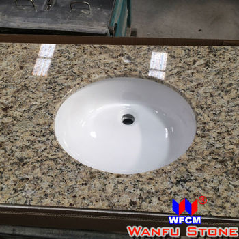 new giallo or granit evier en porcelaine dessus de vanite