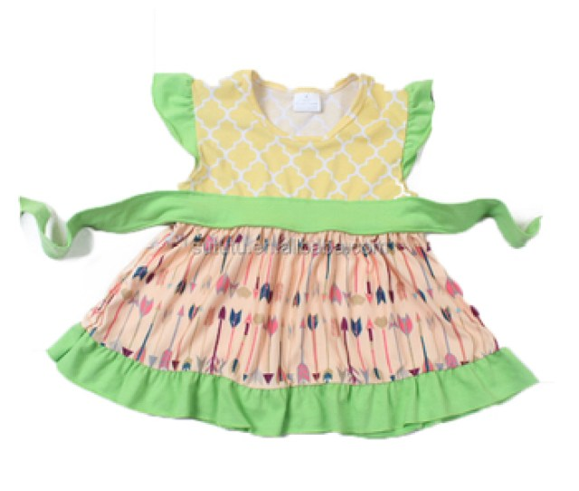 Promotion Fashion Summer Baby Girls Outfit Belt Bowknot Smart Party Boutique Dresses Discount Flutter Sleeve Princess