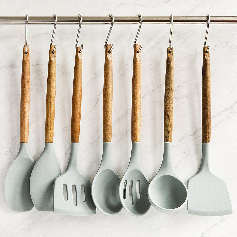 8 Natural Acacia Wooden Silicone Kitchen Utensils Set