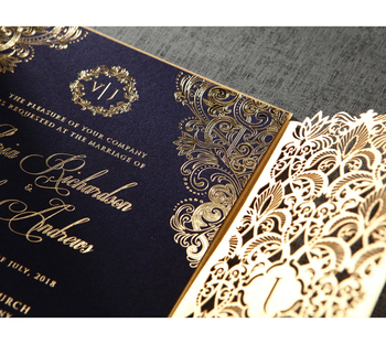 Elegant Royal Gold Wedding Invitations Blue Luxury Laser Cut With Affordable Price