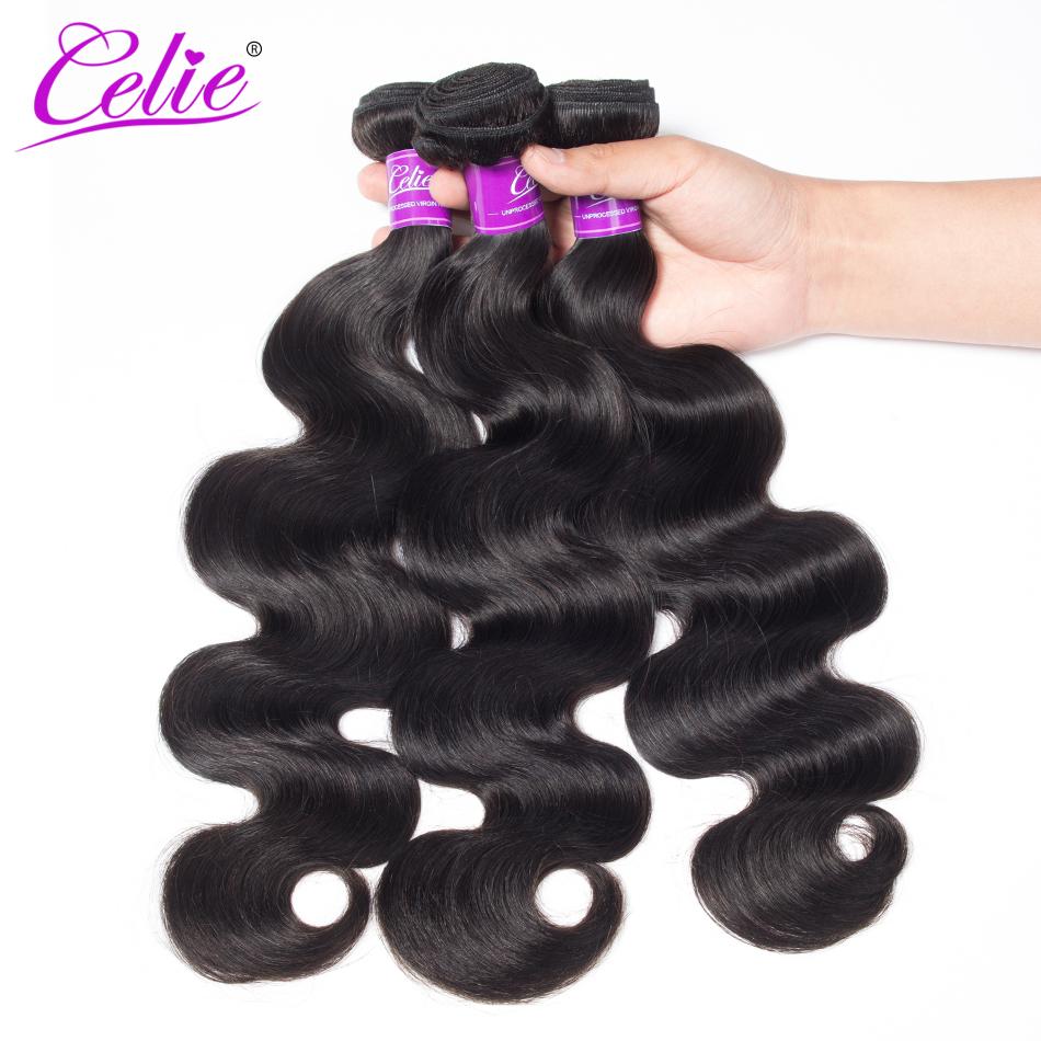 Celie Hair Body Wave Bundles With Closure Brazilian Hair Weave 3 Bundles With Lace Closure Remy Human Hair Bundles With Closure