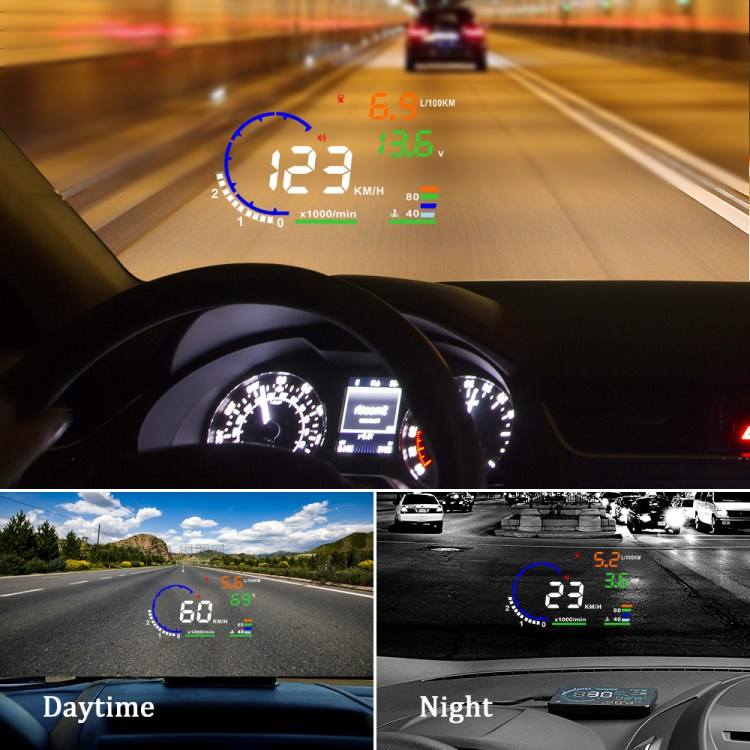 Most Popular Top Selling 5.5 inch HUD OBD2 A8 Car Over Speed Alarm Head up Display HUD for Car