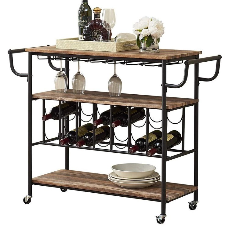 household 14 bottles large long rustic industrial style wood bar cart with wine glass rack view wood bar cart sunrise product details from fuzhou