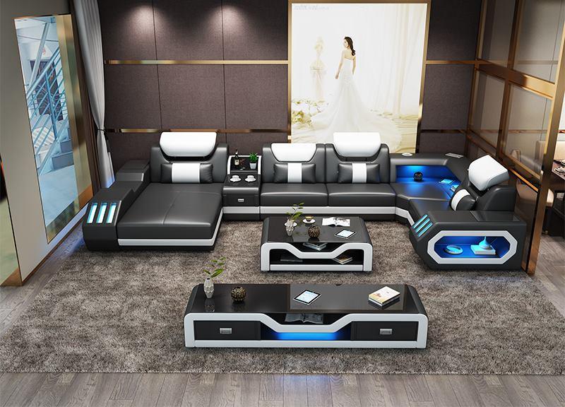 Custom made modern design LED lights Music player living room sofa set leather sofa