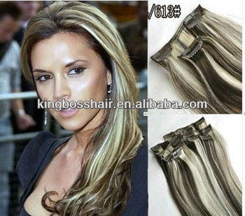 two tone ombre 18 7 pc brown and light blonde blend 4 613 remy clip human hair extensions