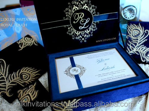 Velvet Royal Wedding Invitation With Gold Fl Embroidery Elegant Invitations Indian Cards Silk Box On