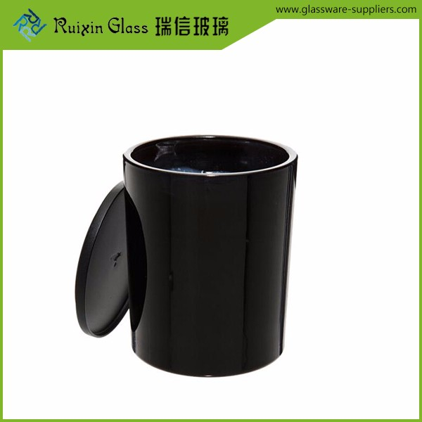 8OZ black glass candle jar with good price