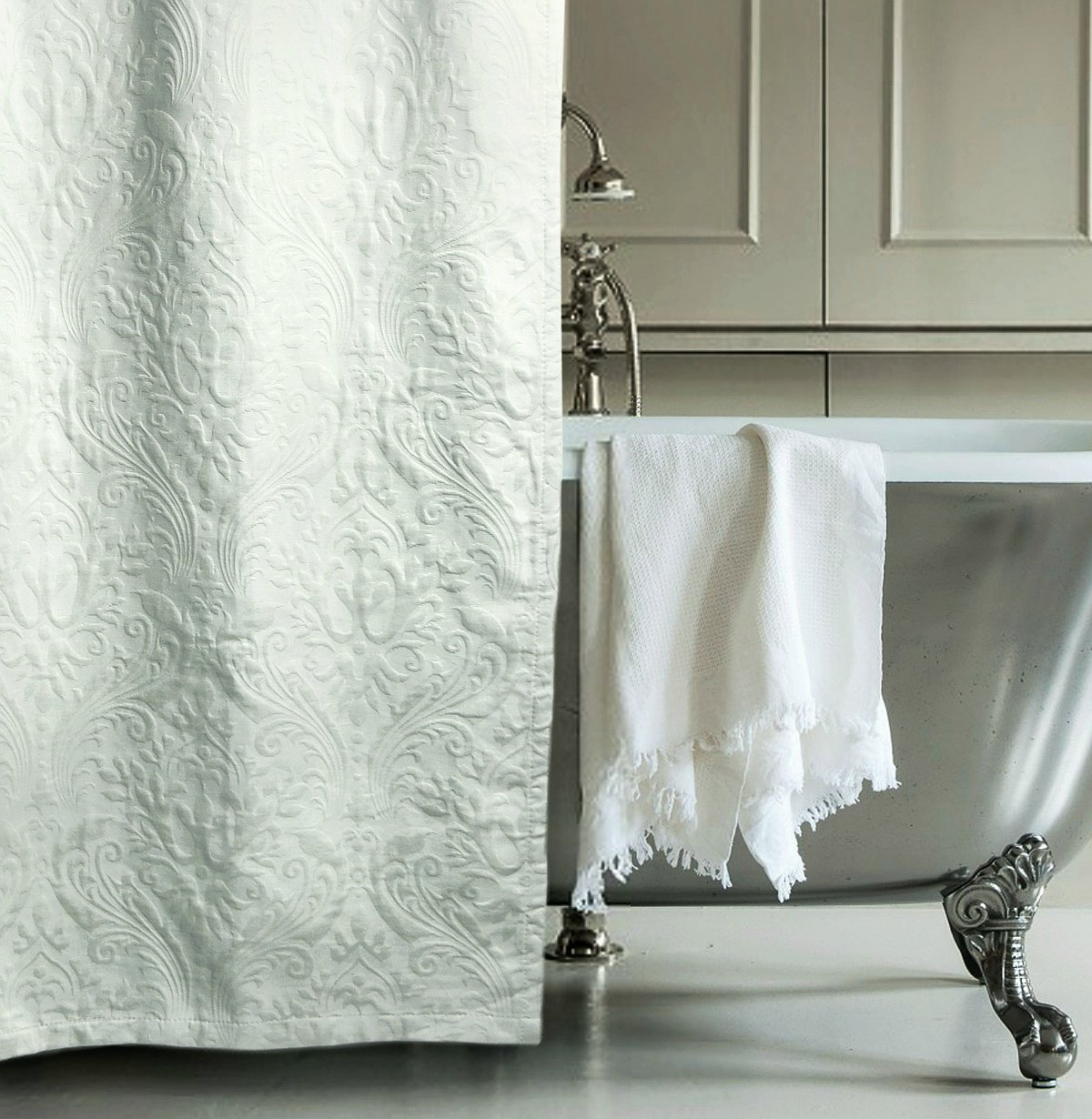 Matelasse Luxury Shower Curtain By Hotel Collection 100 Percent Cotton Fabric Textured Trapunto Gray Damask Paisley Scroll Jacquard Design White Or