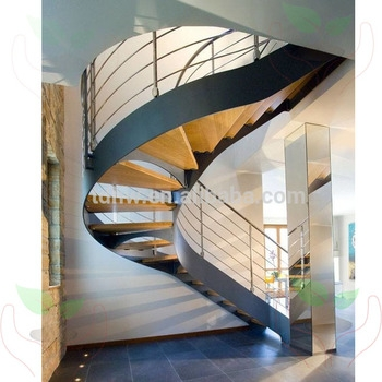 Carbon Steel Stringer Wooden Curved Stairs With Metal Railing And | Black Steel Stair Railing | Custom | Wood | Residential Indoor Residential Glass | Stainless Steel | Concrete