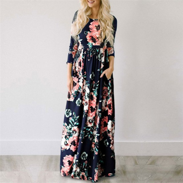 Dark Blue color of GVN Rocks Floral Boho Summer Maxi Dress