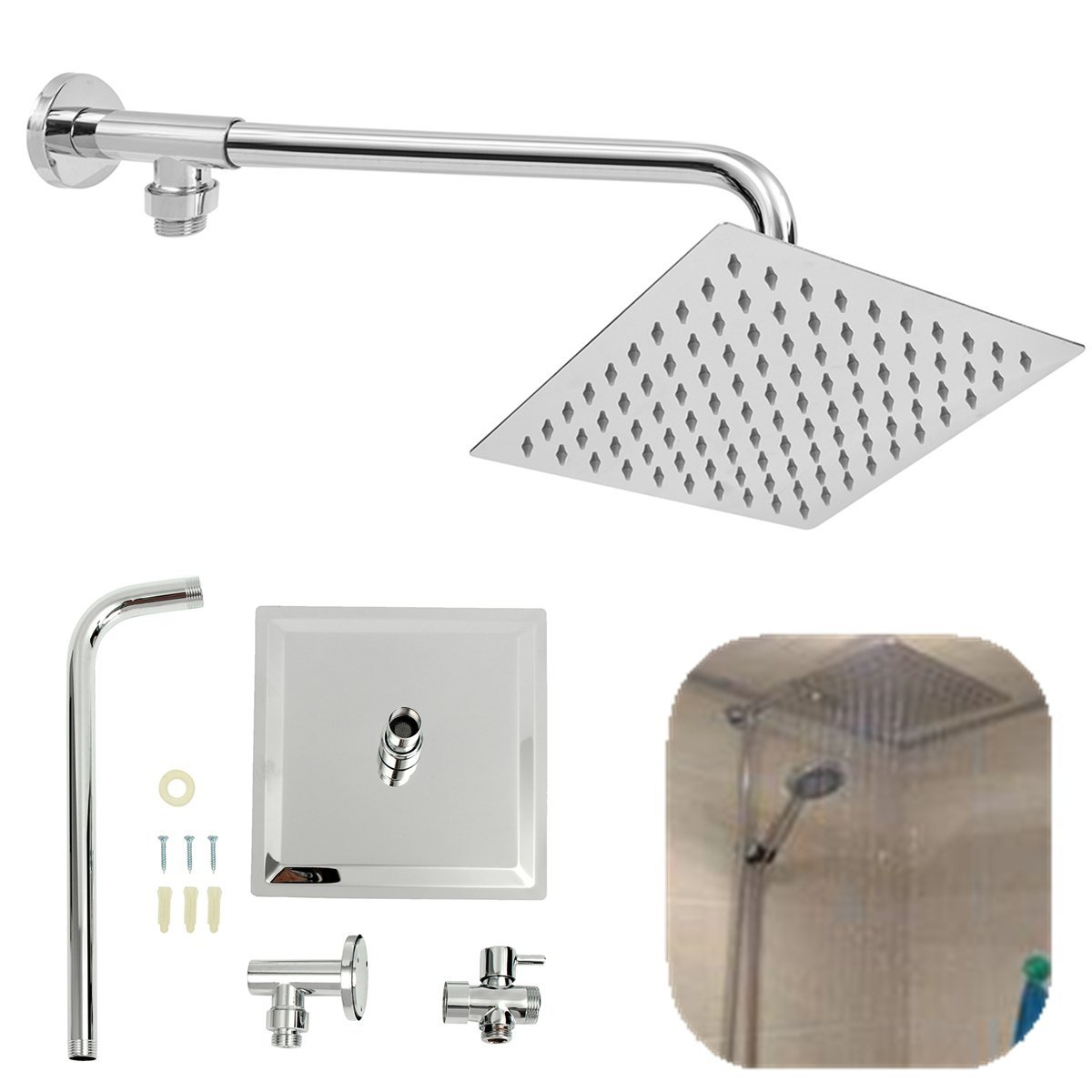 Buy 200mm Shower Head With Arm 8 Inch Stainless Steel Rain