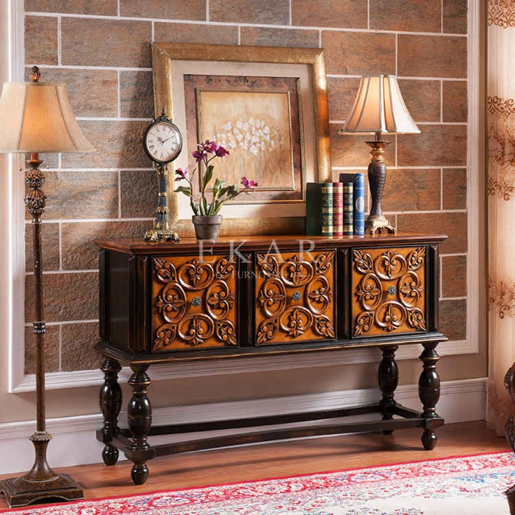 Long Narrow Console Table Wood Carved Antique Drawer Cabinet Drawer Table Luxury Classic Console