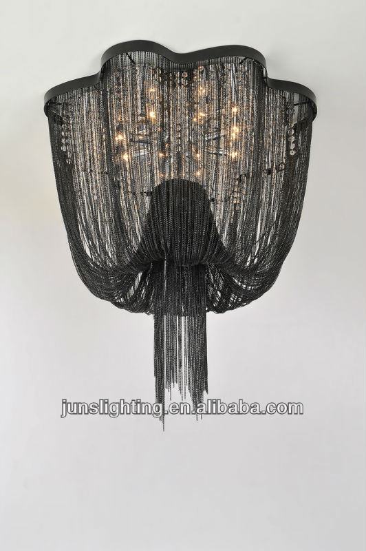 Black Metal Chain Hanging Chandelier With Crystal For Hotel Project Decorative Chandeliers Modern Painted