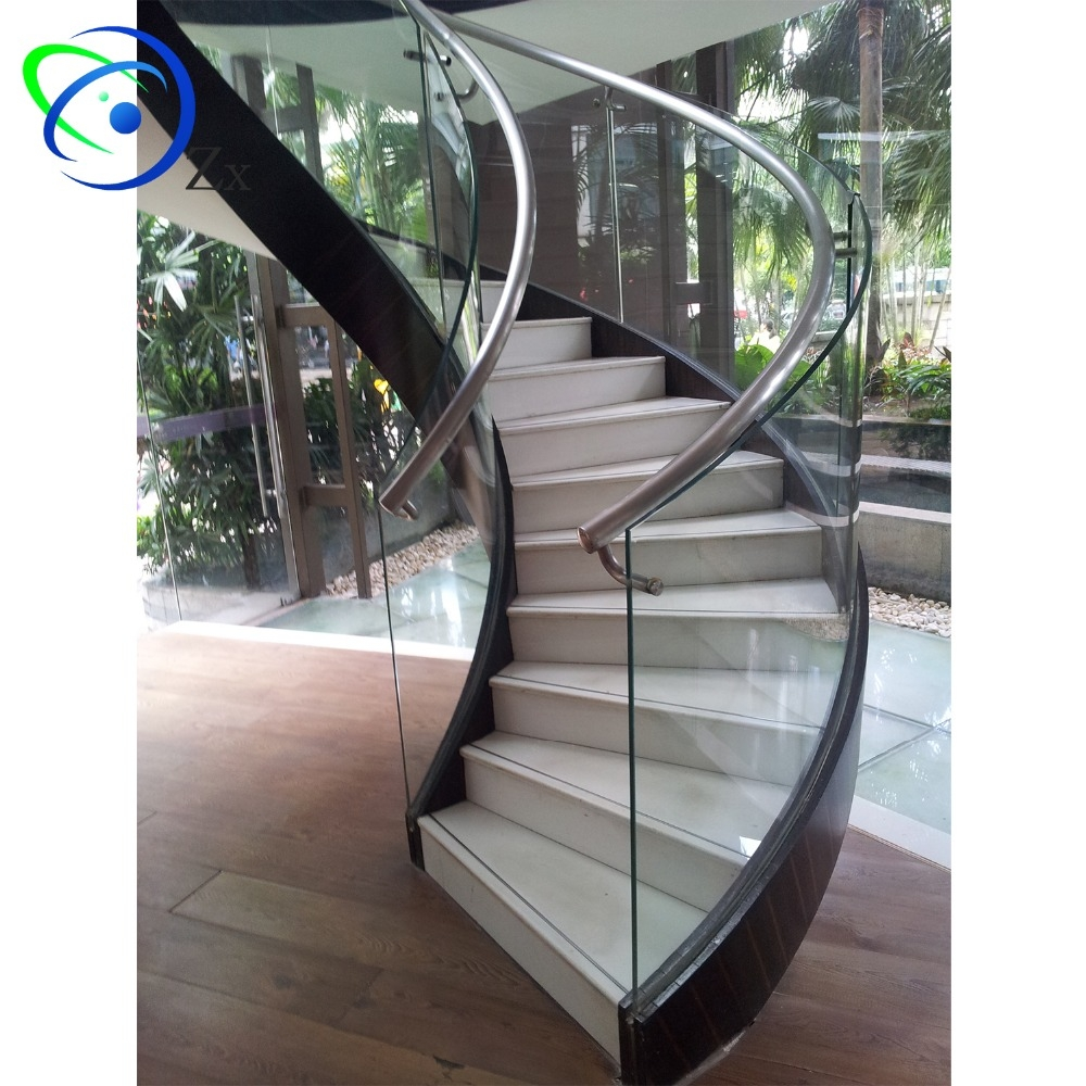 Curved Stair Glass Balustrade Standoff Fittings Spiral Staircase | Glass Balustrade With Wooden Handrail | Contemporary | Glass Panel | Interior | Guardrail | Atrium