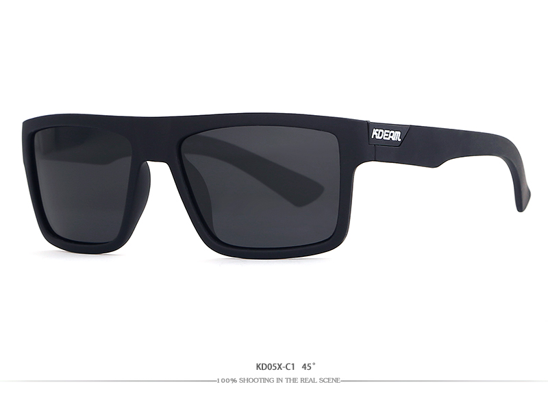 2018 New KDEAM Sunglasses Men Sports Polarized Sun Glasses Cool Black Square Frame UV400 Driving With original case CE KD05X-C1