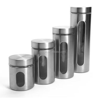 cylindre en acier inoxydable ensemble de bidon de cuisine 4 pieces fenetre en verre pots de