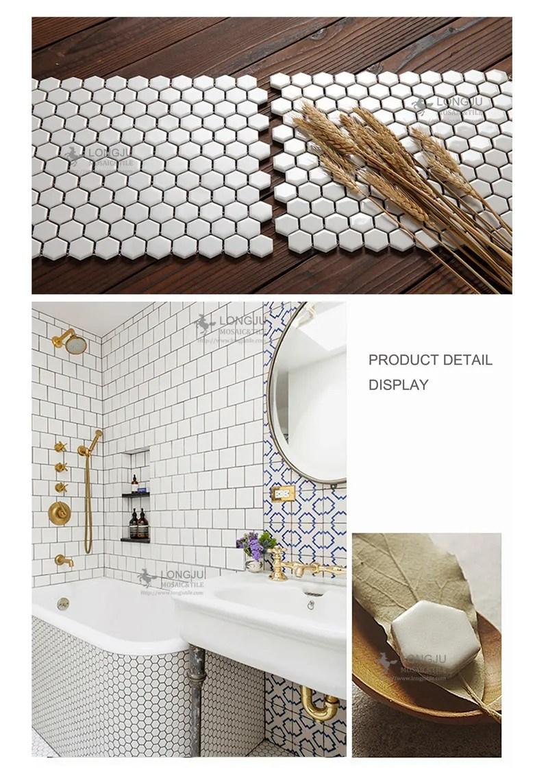 carrelage en porcelaine hexagonal noir blanc mosaique de sol en mosaique pour salle de bains et cuisine buy mosaique hexagonale carrelage en