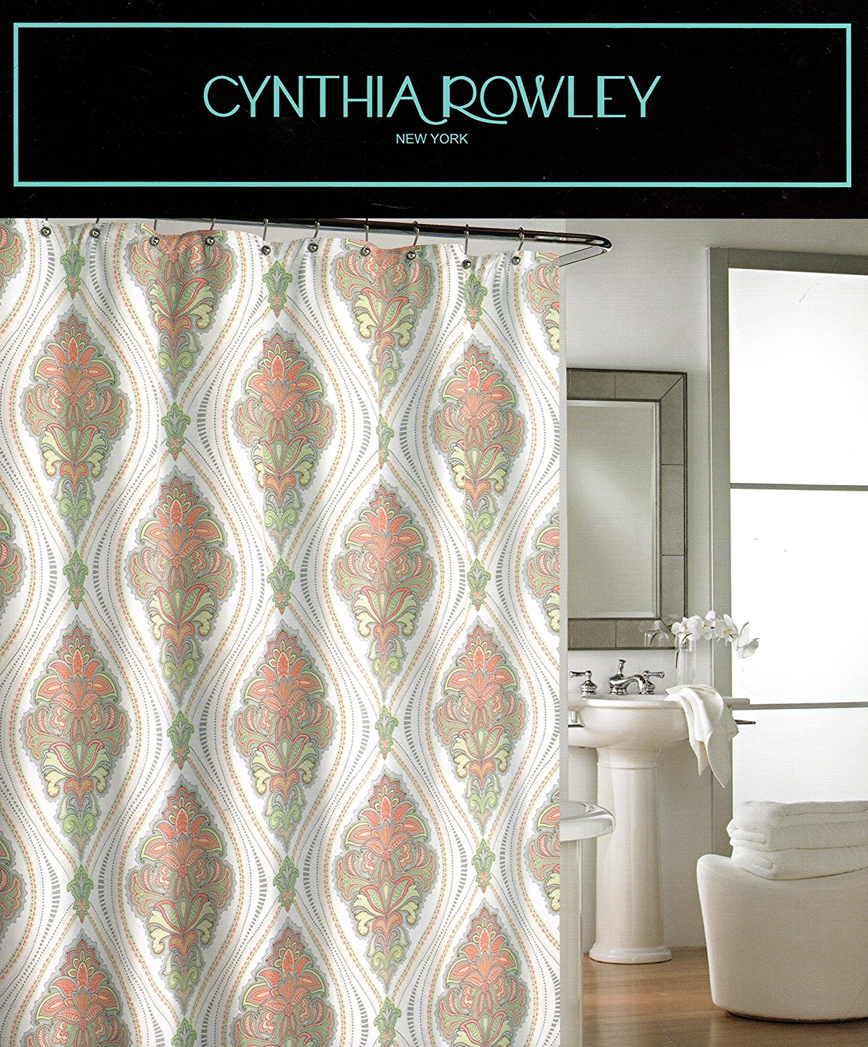 Buy Cynthia Rowley Ornate Medallion Fabric Shower Curtain 72 Inch By 72 Inch Damask Floral Scrolls Shower Curtain Gray Orange Green Beige Grey White In Cheap Price On M Alibaba Com