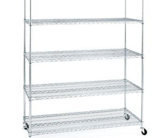 5 Tier Garage Rolling Metal Chrome Shelving Wire Storage Shelves Rack