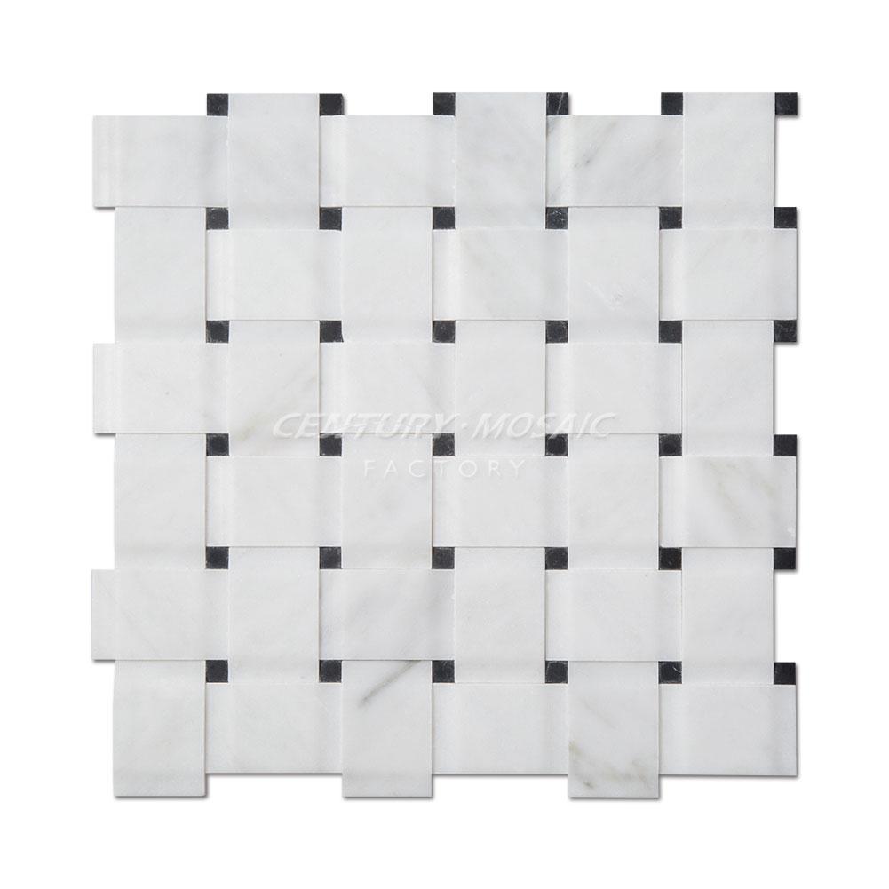 3d white carrara marble basketweave mosaic tile with nero marquina black dots buy basketweave mosaic tile bianco carrera basketweave mosaic