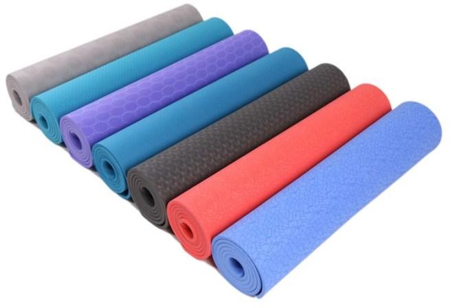 Yoga Mat 2 Tone Color Double Layer Tpe Gym Mattress