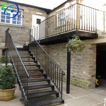 Outside Galvanized Steel Staircase Exterior Metal Stairs Outdoor | Metal Railing For Steps Outside | Front Porch | Deck Stair | Aluminum | Deck Railing | Staircase